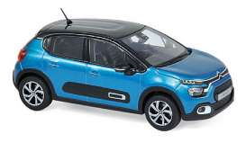 Citroen  - C3 2020 blue/black - 1:43 - Norev - 155264 - nor155264 | Toms Modelautos