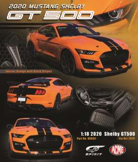 Ford  - Mustang Shelby GT500 2020 orange/black - 1:18 - Acme Diecast - US035 - GTUS035 | Toms Modelautos