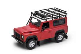 Land Rover  - Defender off road red/white - 1:24 - Welly - 22498SP - welly22498SPrw | Toms Modelautos