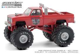 Chevrolet  - Silverado Monster Truck 1984 red - 1:64 - GreenLight - 49080E - gl49080E | Toms Modelautos