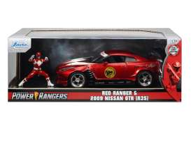 Nissan  - Skyline GTR R-35, Power Ranger 2009 red/white - 1:24 - Jada Toys - 31908 - jada31908 | Toms Modelautos