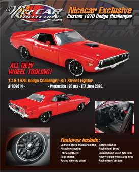Dodge  - Challenger Custom Street Fight 1970 red - 1:18 - Acme Diecast - 1806014NC - acme1806014NC | Toms Modelautos