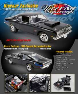 Plymouth  - Hemi Cuda Drag Car 1969 black - 1:18 - Acme Diecast - 1806117NC - acme1806117NC | Toms Modelautos