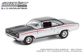 Plymouth  - GTX 1968 silver/black - 1:64 - GreenLight - 37220A - gl37220A | Toms Modelautos