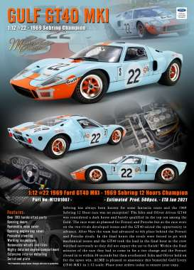 Ford  - GT40 MKI #22 1969 gulf blue/orange - 1:12 - Acme Diecast - M1201007 - acmem1201007 | Toms Modelautos