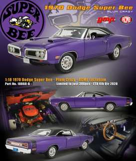 Plymouth  - Super Bee 1970 plum crazy/black - 1:18 - Acme Diecast - 18860-B - acme18860B | Toms Modelautos