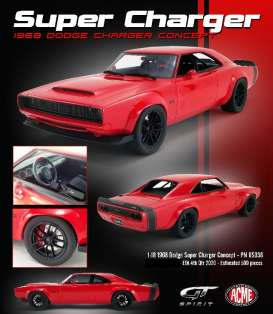Dodge  - Super Charger 1968 red - 1:18 - Acme Diecast - US036 - GTUS036 | Toms Modelautos
