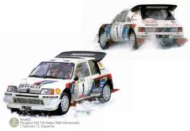 Peugeot  - 205 1986 white/red/blue - 1:18 - Norev - 184863 - nor184863 | Toms Modelautos
