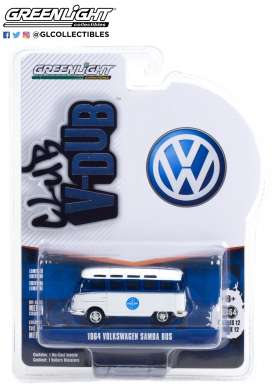 Volkswagen  - Samba bus 1964 white/blue - 1:64 - GreenLight - 36020A - gl36020A | Toms Modelautos