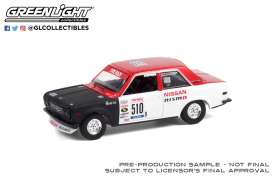 Datsun  - 510 #510 1972 white/red - 1:64 - GreenLight - 47070A - gl47070A | Toms Modelautos