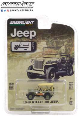 Willys Jeep - MB Jeep 1940 army - 1:64 - GreenLight - 28060A - gl28060A | Toms Modelautos