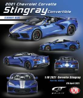 Corvette  - Stingray convertible 2020 blue/silver - 1:18 - Acme Diecast - US033 - GTUS033 | Toms Modelautos