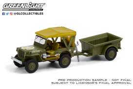 Willys  - MB Jeep 1943 green army - 1:64 - GreenLight - 32220A - gl32220A | Toms Modelautos
