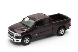 Ram  - 1500 2019 dark red-brown - 1:24 - Welly - 24104 - welly24104mr | Toms Modelautos
