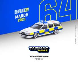 Volvo  - 850 Estate white/yellow/blue - 1:64 - Tarmac - T64-039-PC - TC-T64-039pc | Toms Modelautos