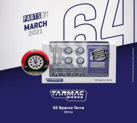 Rims & tires Wheels & tires - OZ Sparco Terra white - 1:64 - Tarmac - T64W-003WH - TC-T64W003WH | Toms Modelautos