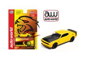 Dodge  - Challenger SRT Hellcat 2019 yellow/black - 1:64 - Auto World - cp7722 - awcp7722 | Tom's Modelauto's