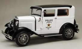 Ford  - Model A Tudor *Police* 1931 whit/black - 1:18 - SunStar - 6108 - sun6108 | Toms Modelautos