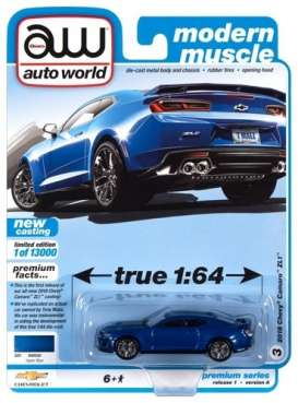 Chevrolet  - Camaro ZL1 2018 blue - 1:64 - Auto World - SP059A - AWSP059A | Toms Modelautos