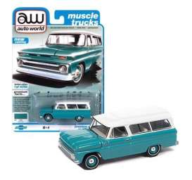 Chevrolet  - Suburan 1965 light green - 1:64 - Auto World - SP060A - AWSP060A | Toms Modelautos
