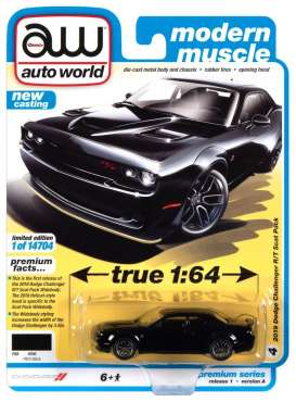 Dodge  - Challanger 2019 black - 1:64 - Auto World - SP061A - AWSP061A | Toms Modelautos