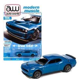 Dodge  - Challanger 2019 blue - 1:64 - Auto World - SP061B - AWSP061B | Toms Modelautos