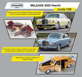 Rolls Royce  - Silver Shadow MPW 1968 caribbean blue - 1:18 - Paragon - 98209lhd - para98209lhd | Toms Modelautos