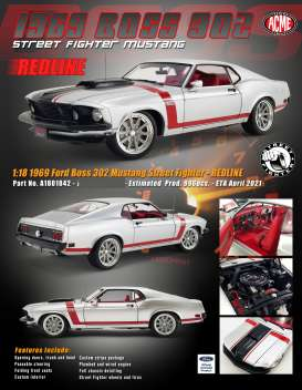 Ford  - Boss 302 Mustang 1969 white/red/black - 1:18 - Acme Diecast - 1801842 - acme1801842 | Toms Modelautos