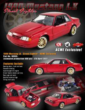 Ford  - Mustang LX Street Fighter 1990 red - 1:18 - Acme Diecast - 18955 - acme18955 | Toms Modelautos
