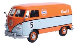 Volkswagen  - type 2 T1 delivery van light blue/orange - 1:24 - Motor Max - 79649 - mmax79649 | Toms Modelautos