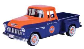 Chevrolet  - Stepside pick-up 1955 blue/orange - 1:24 - Motor Max - 79651 - mmax79651 | Toms Modelautos