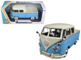 Volkswagen  - Type 2 (T1) Pickup cream/blue - 1:24 - Motor Max - 79343E - mmax79343crbl | Toms Modelautos