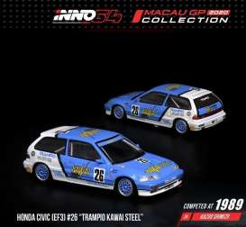 Honda  - Civic EF3 #26 1989 light blue/white - 1:64 - Inno Models - in64EF3MGP20KS - in64EF3MGP20KS | Toms Modelautos