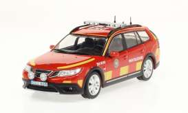 Saab  - 9-3X *Ledningsbil* 2009 red/yellow - 1:43 - Triple9 Collection - 43077 - T9-43077 | Toms Modelautos