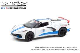 Chevrolet  - Corvette C8 2020 white/blue - 1:64 - GreenLight - 13300E - gl13300E | Toms Modelautos