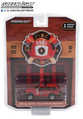 Jeep  - Cherokee 1990 red - 1:64 - GreenLight - 67010D - gl67010D | Toms Modelautos