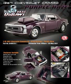 Chevrolet  - Camaro *Drag Outlaws* 1967 purple haze - 1:18 - Acme Diecast - 1805721 - acme1805721 | Toms Modelautos