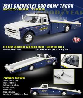 Chevrolet  - C-30 Ramp Truck 1967 white/blue/yellow - 1:18 - Acme Diecast - 1801706 - acme1801706 | Toms Modelautos