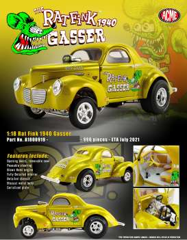 Willys  - Gasser  1940 metallic gold - 1:18 - Acme Diecast - A1800919 - acme1800919 | Toms Modelautos