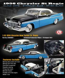Chrysler  - New Yorker  St regis 1956 blue/white/black - 1:18 - Acme Diecast - 1809007 - acme1809007 | Toms Modelautos