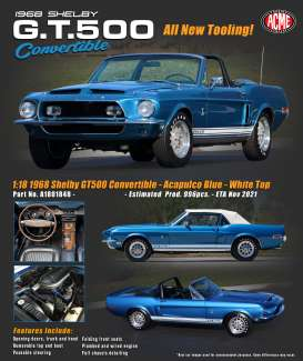Shelby  - GT500 Convertible 1967 blue/white - 1:18 - Acme Diecast - 1801848 - acme1801848 | Toms Modelautos