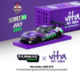 Mercedes Benz  - AMG GT3 2020 purple/white - 1:64 - Tarmac - T64-008-WATER - TC-T64-008WATER | Toms Modelautos