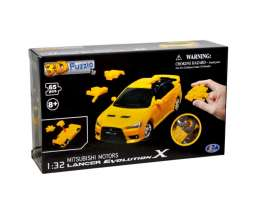 Mitsubishi  - Lancer Evo X 3D Puzzle yellow - 1:32 - Happy Well - 57140 - happy57140 | Toms Modelautos