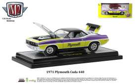 Plymouth  - Cuda 440 1971 pearl white/violet/yellow - 1:24 - M2 Machines - 40300-82 - M2-40300-82A | Toms Modelautos