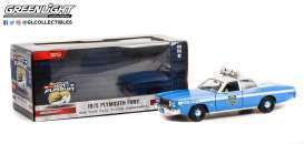 Plymouth  - Fury 1975 white/blue - 1:24 - GreenLight - 85542 - gl85542 | Toms Modelautos