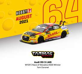 Audi  - RS3 LMS 2020 yellow/black - 1:64 - Tarmac - T64-013-20WTCR31 - TC-T64-01320WTCR31 | Toms Modelautos
