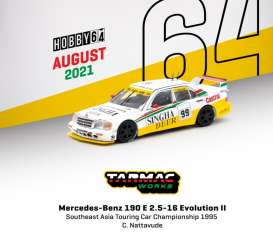 Mercedes Benz  - 190E white/yellow - 1:64 - Tarmac - T64-024-99SEA99 - TC-T64-02499SEA99 | Toms Modelautos