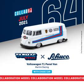 Volkswagen  - T1 Panel Van  white/blue/red - 1:64 - Tarmac - T64S-005-MAR - TC-T64S005MAR | Toms Modelautos