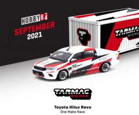 Toyota  - Hilux white/black/red - 1:64 - Tarmac - T64-041-GR - TC-T64-041GR | Toms Modelautos