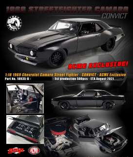 Chevrolet  - Camaro Street Fighter 1969 triple gloss black - 1:18 - Acme Diecast - 18935B - acme18935B | Toms Modelautos